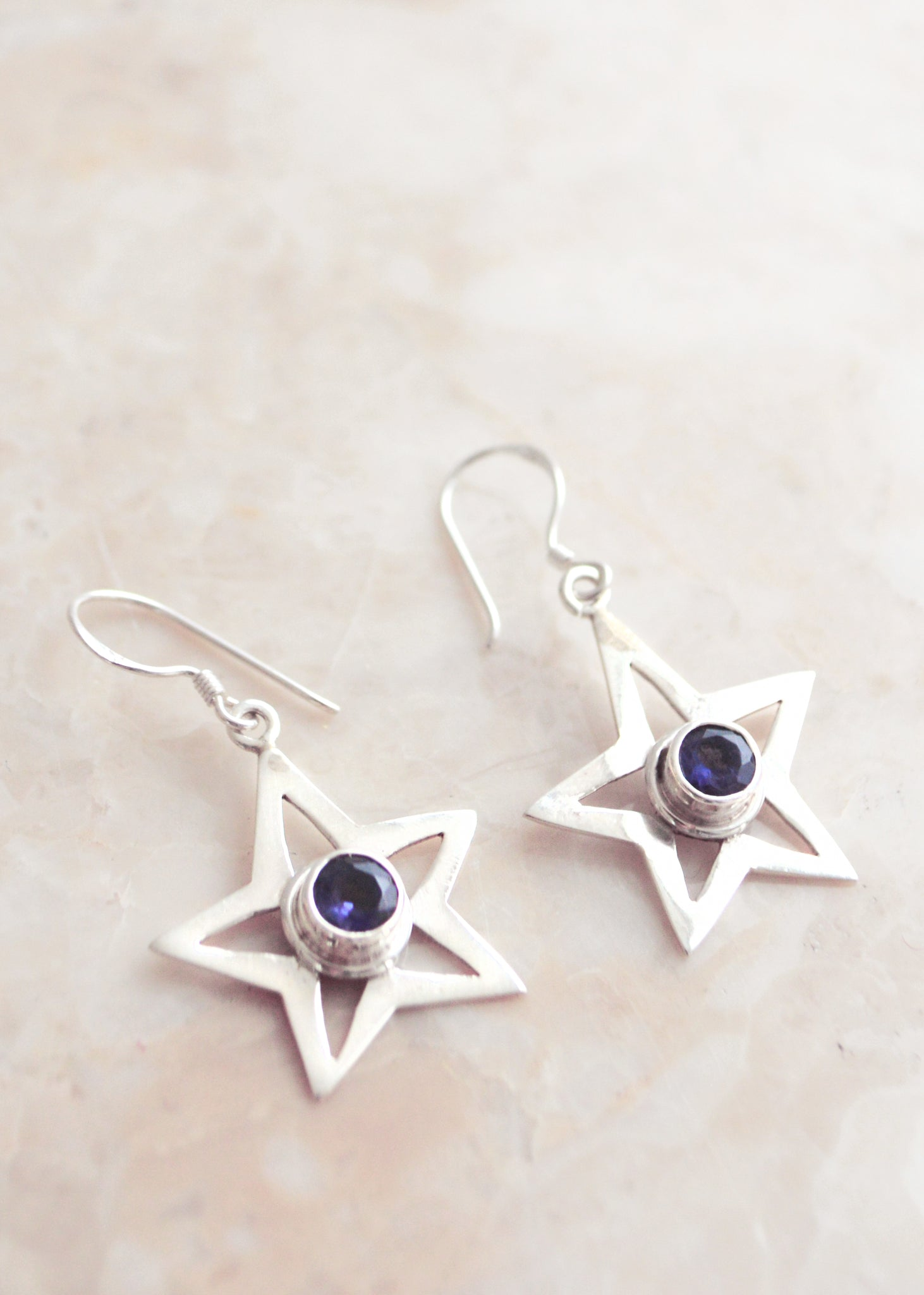 Silver and Iolite Star Earrings
