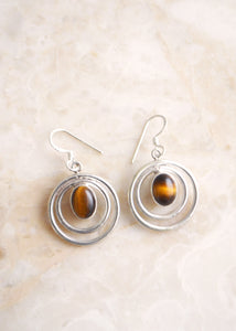 Silver Tiger's Eye Circles Earrings