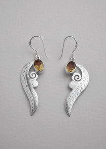 Citrine Silver Carved Leaf Earrings