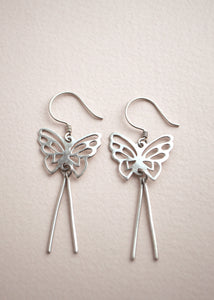 Silver Butterfly Dangle Earrings
