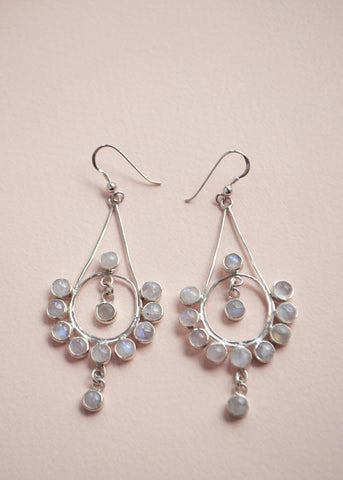 Bollywood Rainbow Moonstone Silver Earrings