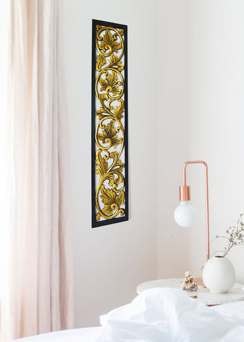 Carved Wooden Black and Gold Long Panel