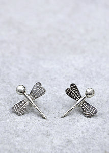 Silver Dragonfly Studs
