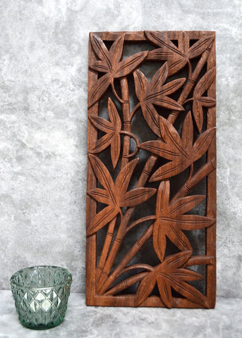 Bamboo Design Carved Wooden Panel