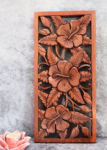 Dark Flowers Carved Panel