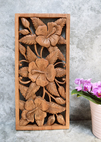 Light Flowers Carved Panel