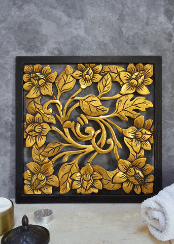 Square Wooden Panel in Black and Gold