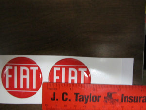 "1 3/4"" Fiat Wheel Emblems, set of 4, Red/white lettering"