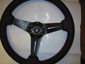 Replica Nardi Leather Covered Steering Wheel (Black Center)