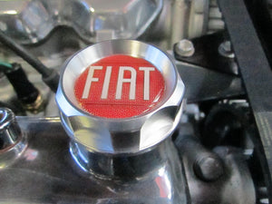 Billet Aluminum Oil Filler Cap, Red Fiat logo