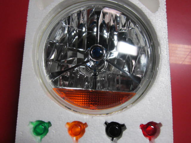 Headlamp, tribar with amber lens, interchangeable color dots