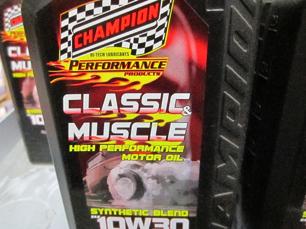 Champion Muscle Car Oil, 10/30 synthetic blend
