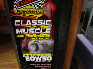 Champion Muscle Car Oil, 20/50 synthetic blend