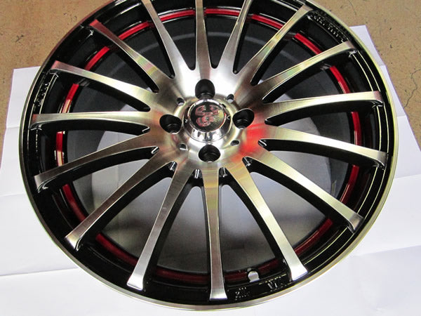 Enzo Wheels - 17 x 7.5 Black w/red stripe