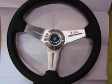 Replica Nardi Leather Covered Steering Wheel (Satin Center)