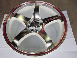 GTR Wheels, White Background, Machined Face, Red Stripe