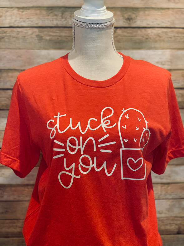 Stuck on You Valentine Adult Tee