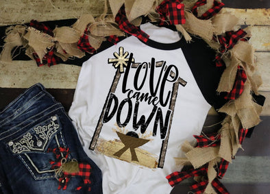 Love Came Down Raglan Christmas Youth & Women's Tee