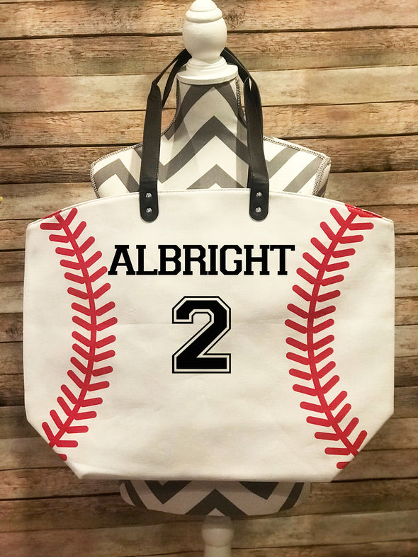 Baseball Tote Bag Personalized Name Number