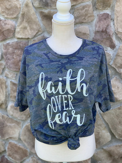 Faith Over Fear Camo Adult Tee