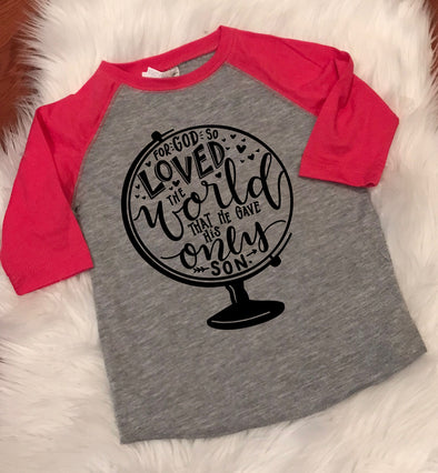 For God So Loved The World Kids Raglan Tee - John 3:16