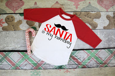 Santa is my Homeboy Kids Raglan