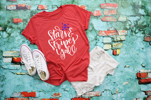 Stars & Stripes Y'all 4th of July Adult Tee