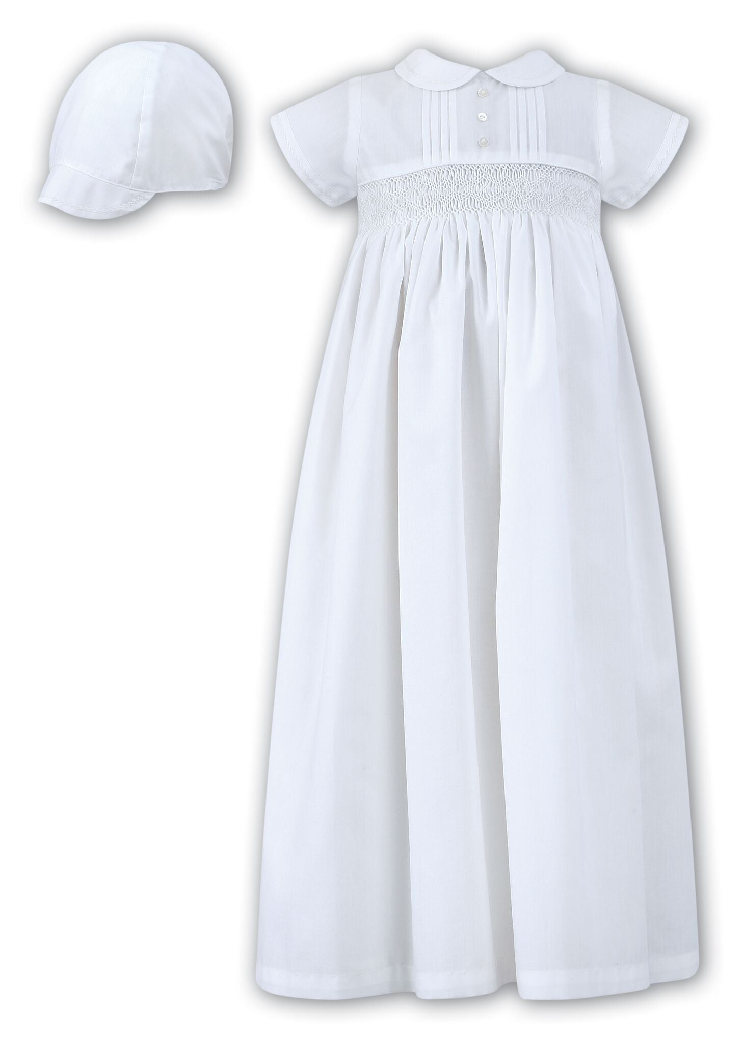 Sarah Louise heirloom poly cotton smocked Christening Robe