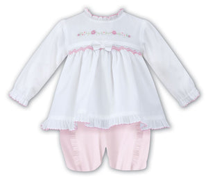 Sarah Louise Girls Pink and white  Smocked Dress Set