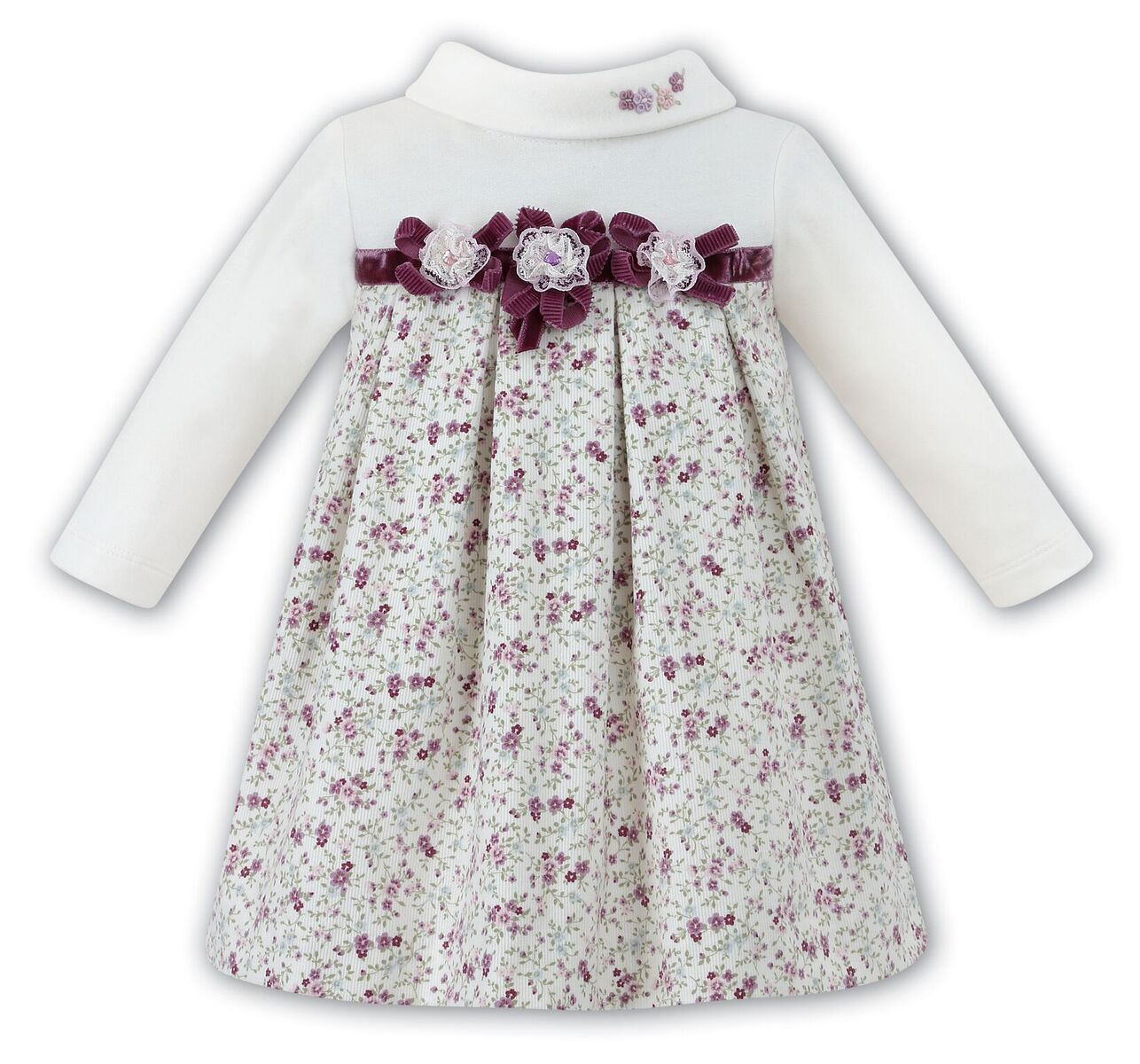 Sarah Louise Girls Lilac print and ivory dress