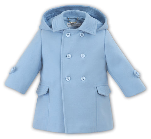 Sarah Louise Blue boys duffle coat with hood