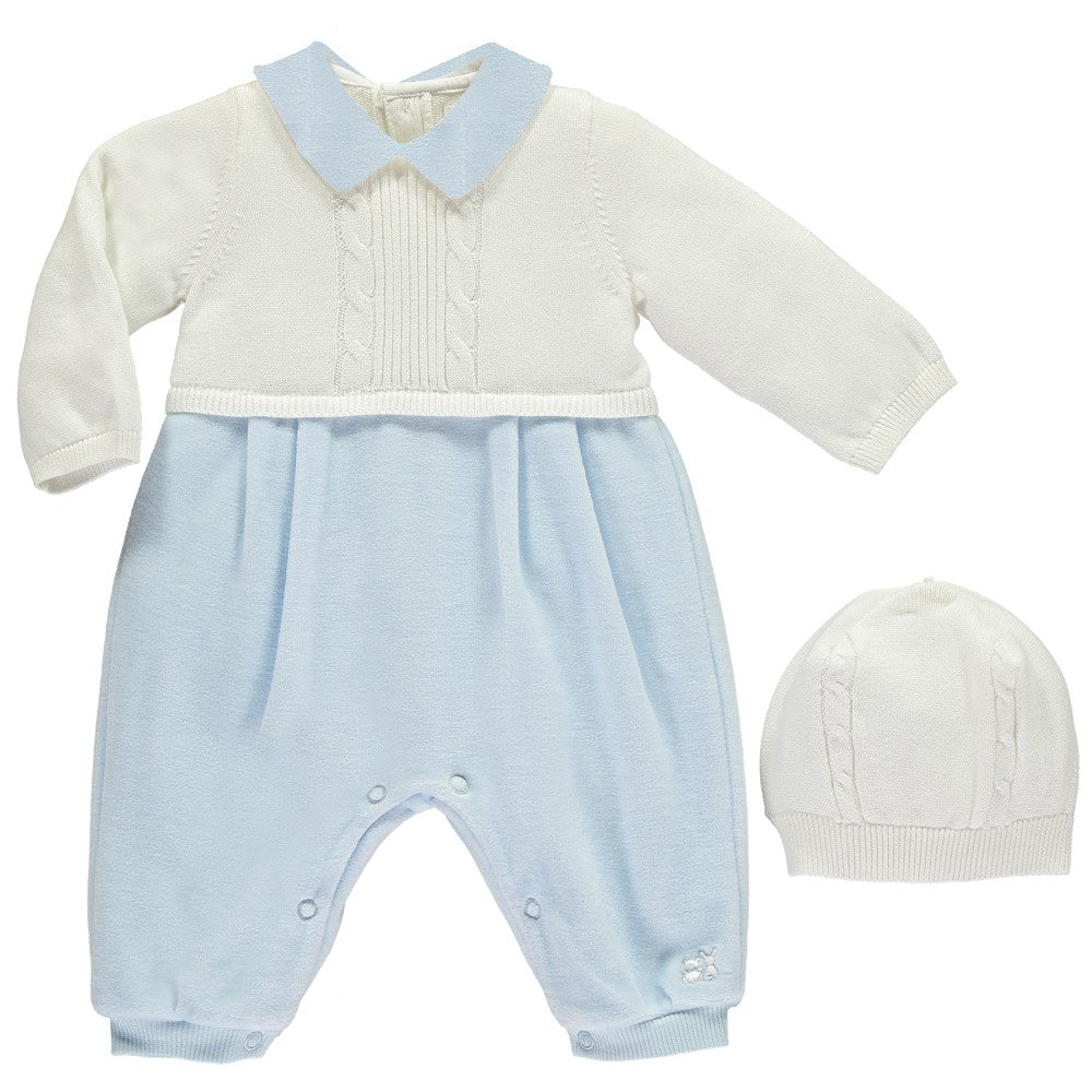 Emile et Rose Langston Blue Traditional Baby Boys All in One with Hat