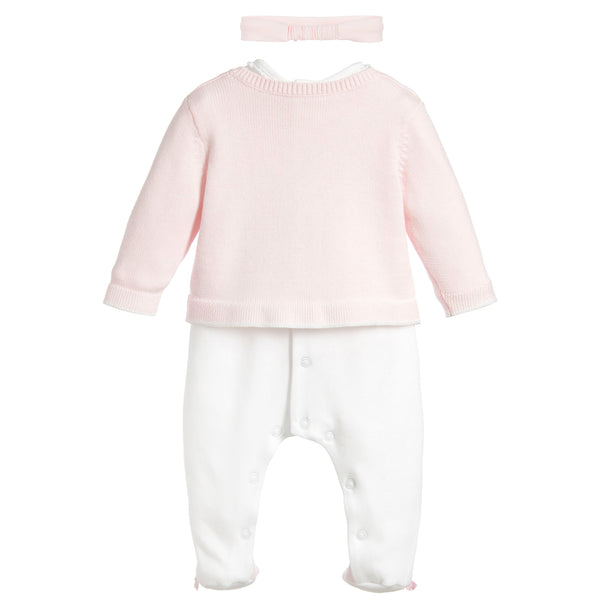 Emile et Rose Babygrow and knitted cardigan