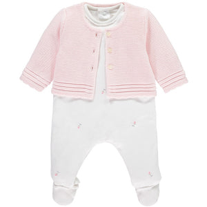 NATASHA ROSEBUD GIRLS ALL IN ONE & CARDIGAN SET