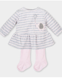 Tutto Piccolo Girls Grey and Pink Velour Dress and tights