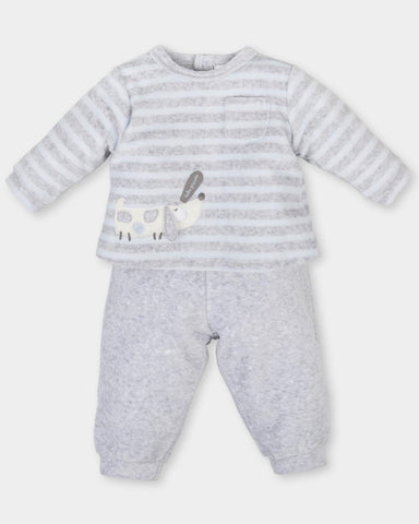 Tutto Piccolo Boys Grey and Blue Velour Babysuit and jacket