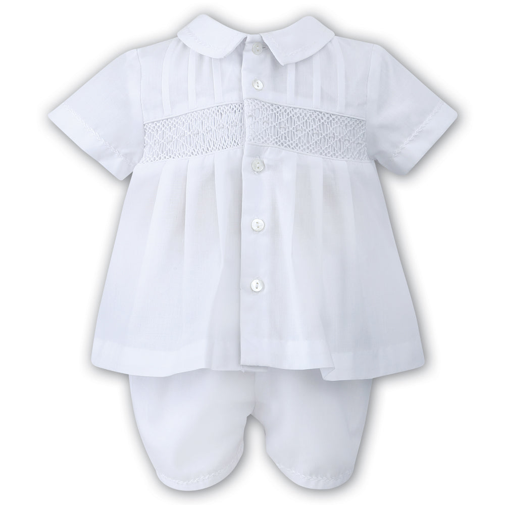 Boys White Smocked 2 piece Set