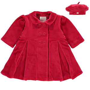 Emile et Rose Red Velour Coat and Beret
