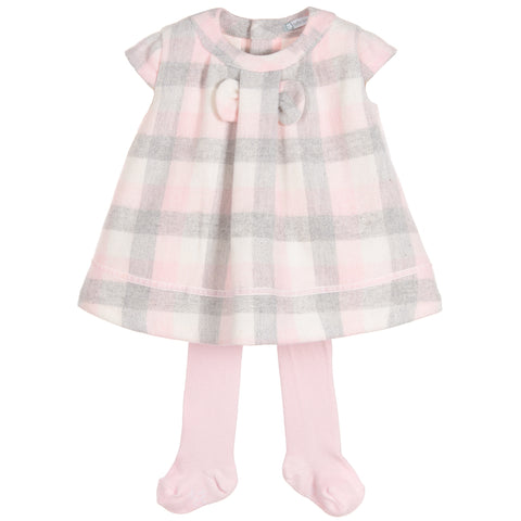 Tutto Piccolo grey and pink wool mix dress and tights