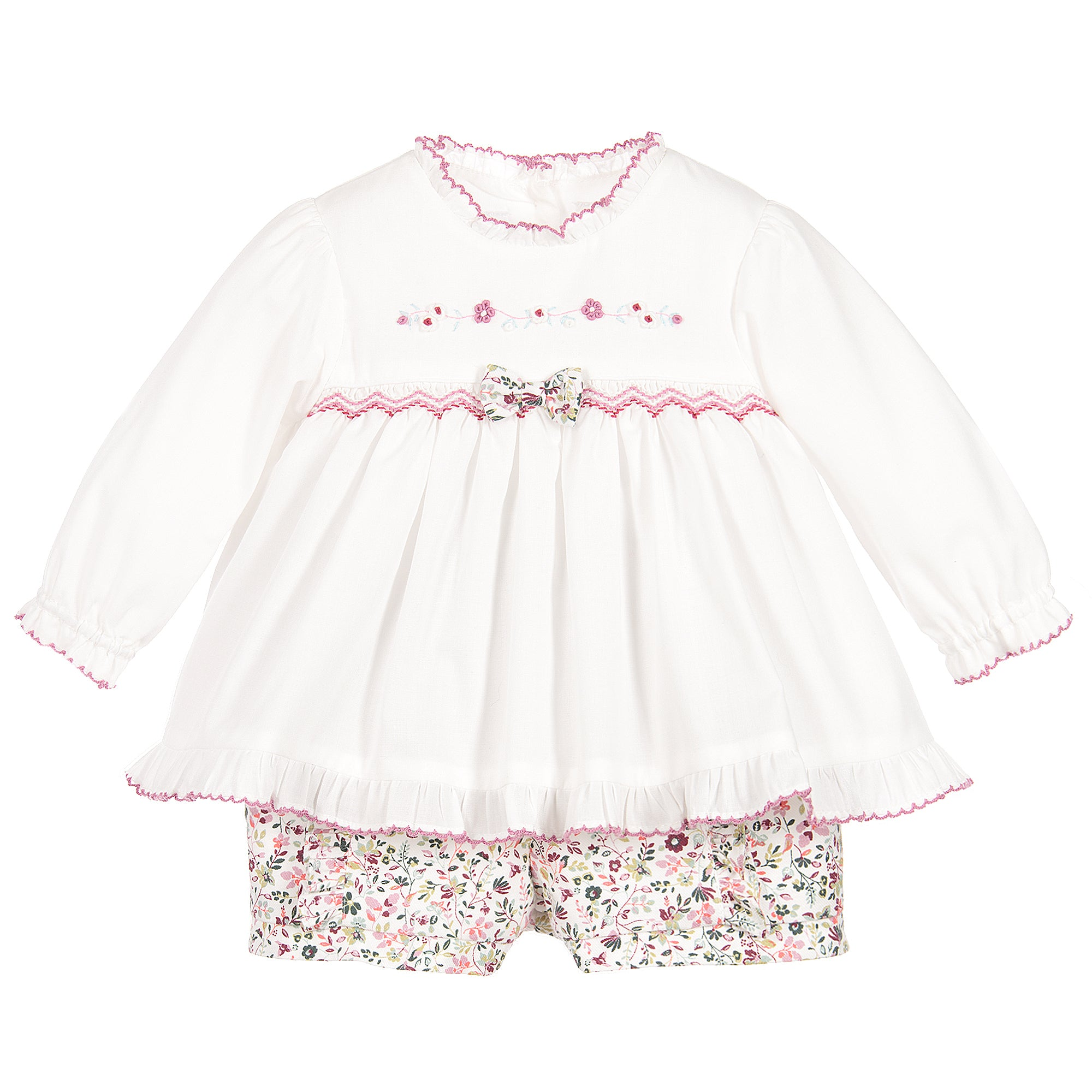 Sarah Louise Hand smocked blouse and shorts set