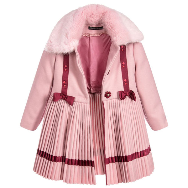 Girls pink pleated coat