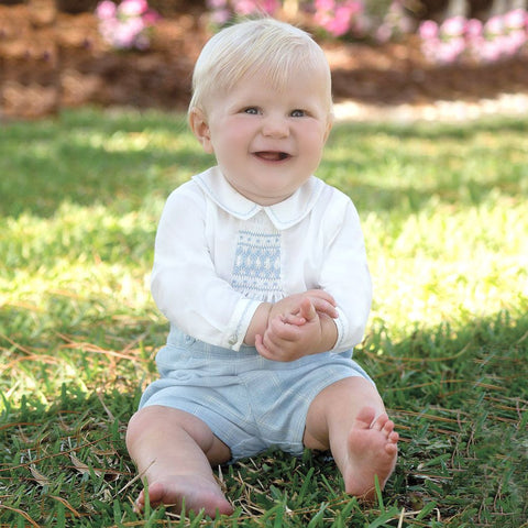 Sarah Louise Blue check shorts and smocked shirt