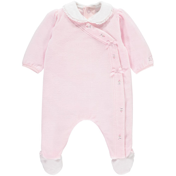 Emile et Rose rosebud velour baby-grow 1776