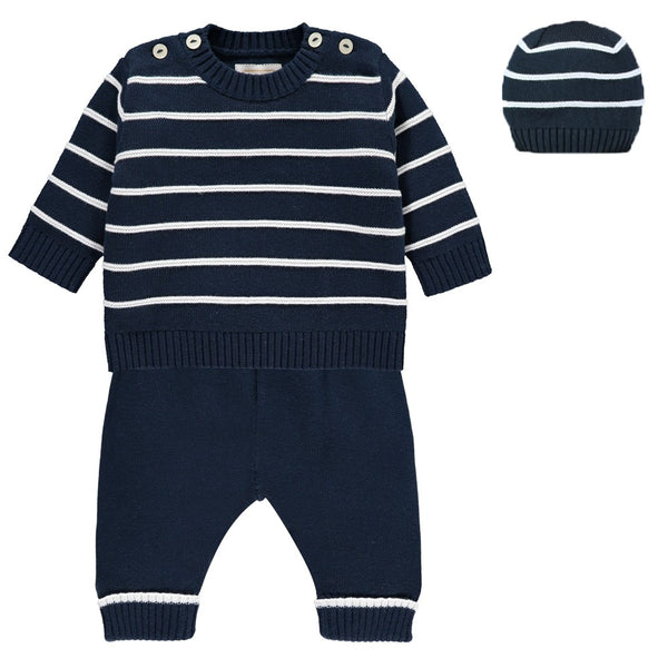 EMILE ET ROSE NOEL COSY KNIT STRIPE TOP, TROUSERS & HAT SET 6414