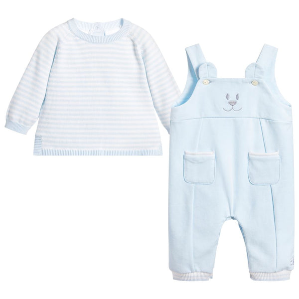 Emile et Rose Logan Boys Blue Emile Bear Cute Dungaree and Top Set