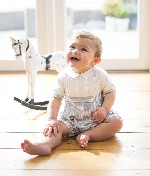 MURRAY BLUE WHITE BOYS ROMPER 7261 EMILE ET ROSE