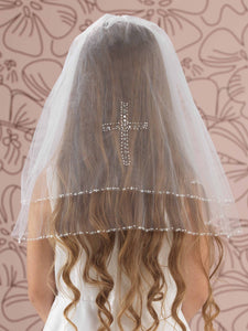 Linzi Jay LA116 Diamante Cross Communion Veil