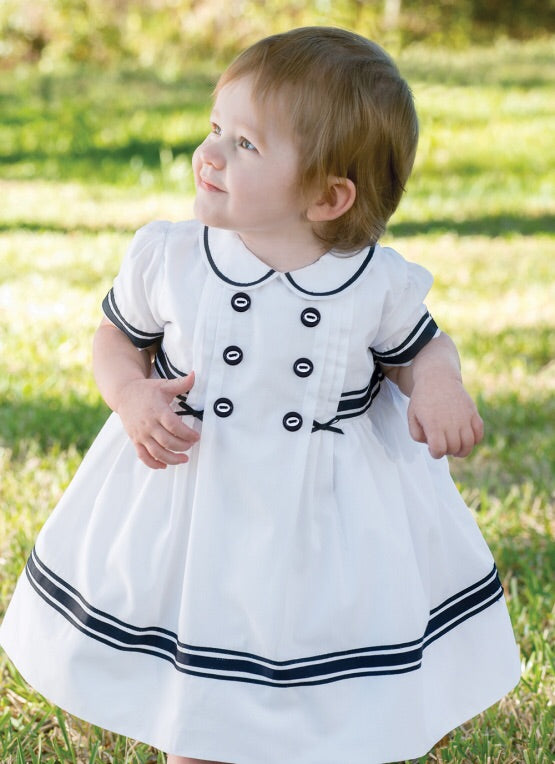 Sarah Louise Nautical dress white and navy