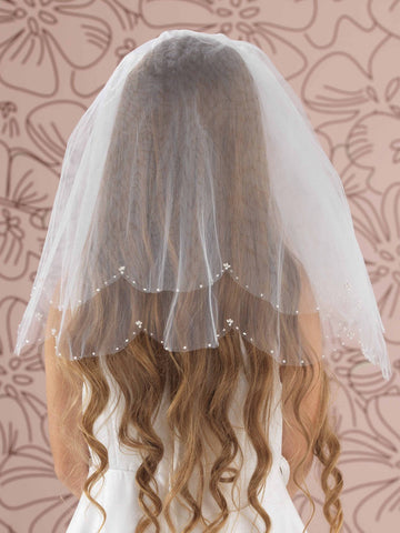 Linzi JayLA119 Beads and Pearls Edge Communion Veil