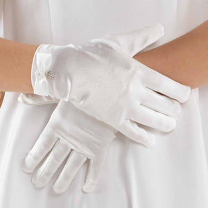 Linzi Jay Satin Gloves with Bow Detail and Diamante Cross